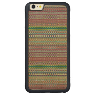 Tribal striped abstract pattern design carved maple iPhone 6 plus bumper case