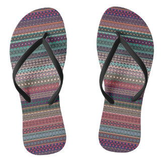 Tribal striped abstract pattern design flip flops