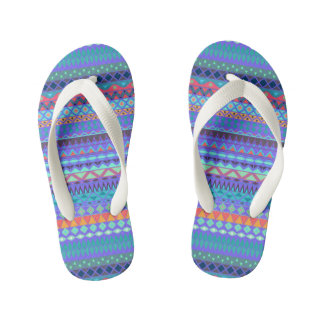 Tribal striped abstract pattern design kid's flip flops