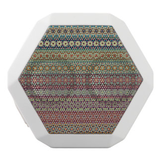Tribal striped abstract pattern design white bluetooth speaker