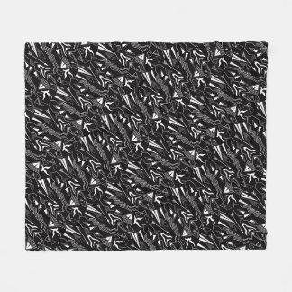 Tribal striped ethnis abstract black white pattern fleece blanket