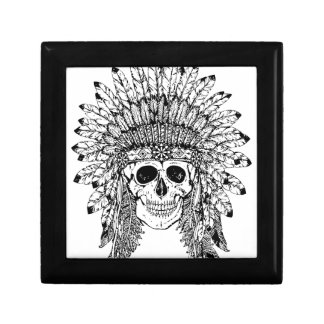 Tribal style gothic skull with feather crown Graph Gift Box