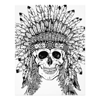 Tribal style gothic skull with feather crown Graph Letterhead
