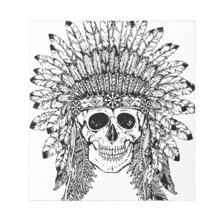 Tribal style gothic skull with feather crown Graph Notepad