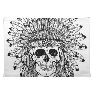 Tribal style gothic skull with feather crown Graph Placemat