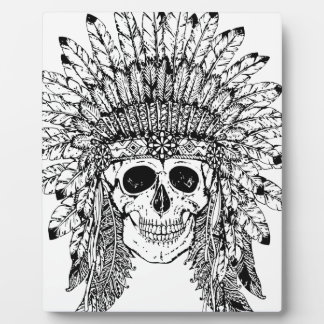 Tribal style gothic skull with feather crown Graph Plaque