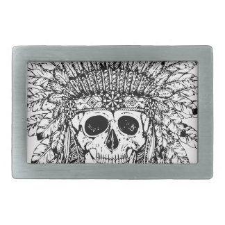 Tribal style gothic skull with feather crown Graph Rectangular Belt Buckles