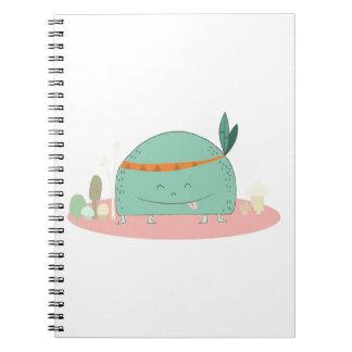 tribal style mushroom monster notebook