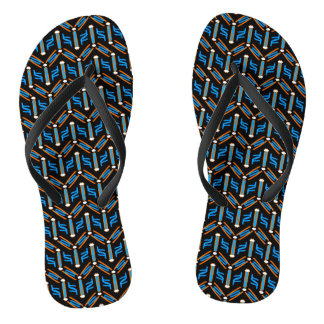 Tribal Style Turquoise Chevron Pattern Flip Flops