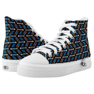 Tribal Style Turquoise Chevron Pattern High Tops