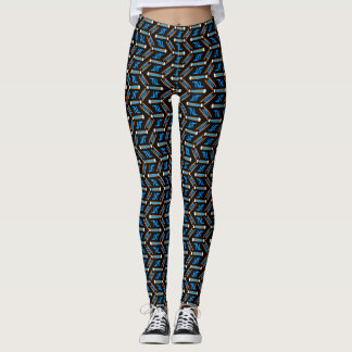 Tribal Style Turquoise Chevron Pattern Leggings