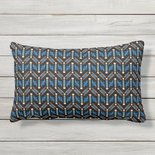 Tribal Style Turquoise Chevron Pattern Lumbar Pillow