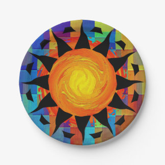 Tribal Sun and Rainbows Paper Plate