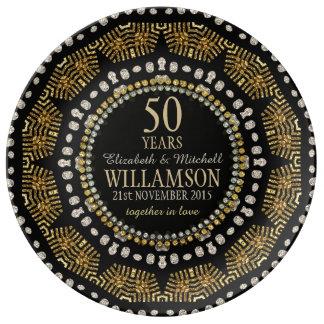 Tribal Sun Black Gold Anniversary Gift Plate
