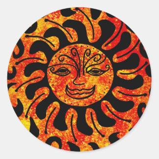 Tribal Sun Classic Round Sticker