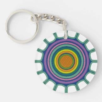 Tribal Sun Custom Circle (double-sided) Keychain