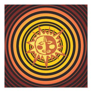 "Tribal Sun Primitive Caveman Drawing Pattern 5.25"" Square Invitation Card"
