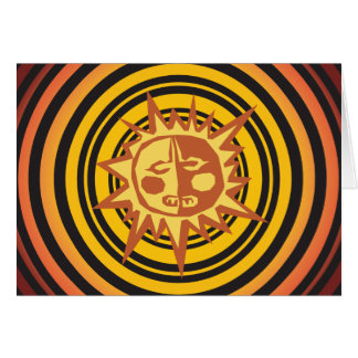 Tribal Sun Primitive Caveman Drawing Pattern Stationery Note Card