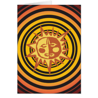 Tribal Sun Primitive Caveman Drawing Pattern Greeting Card