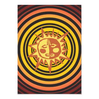 "Tribal Sun Primitive Caveman Drawing Pattern 5"" X 7"" Invitation Card"