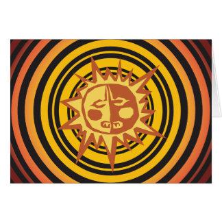Tribal Sun Primitive Caveman Drawing Pattern Note Card
