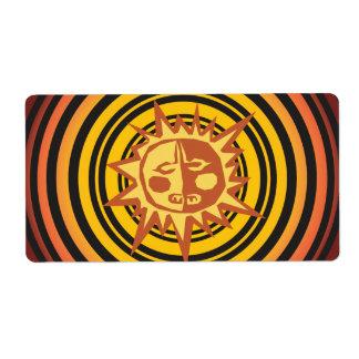 Tribal Sun Primitive Caveman Drawing Pattern Shipping Label