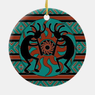 Tribal Sun Turquoise Kokopelli Southwest Christmas Ceramic Ornament