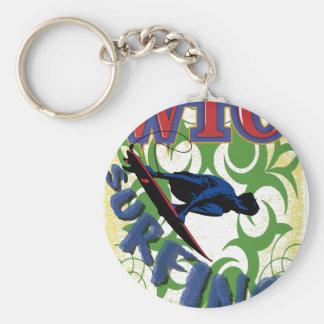 Tribal surfing basic round button keychain