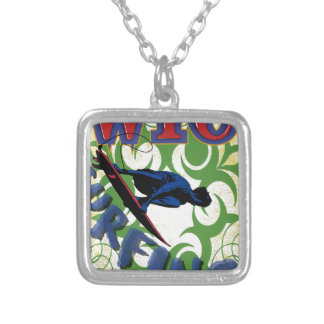 Tribal surfing silver plated necklace