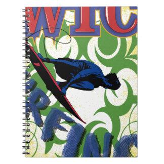 Tribal surfing spiral notebook