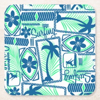Tribal surfing square paper coaster