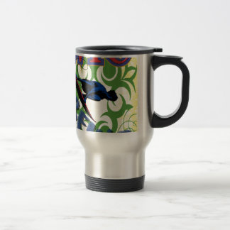 Tribal surfing travel mug