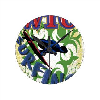 Tribal surfing wall clocks