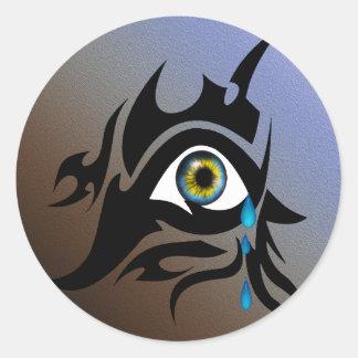 Tribal symbol with iris round sticker
