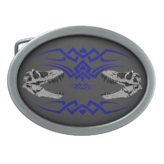 Tribal T-Rex Skulls blue Oval Belt Buckles