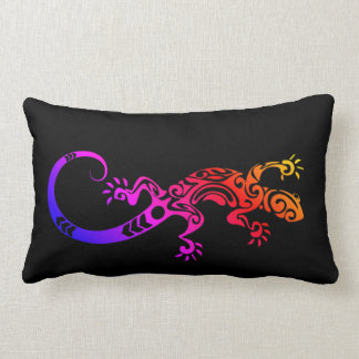 TRIBAL TATTOO GECKO LIZARD REPTILE TIE DYE COLOR LUMBAR PILLOW
