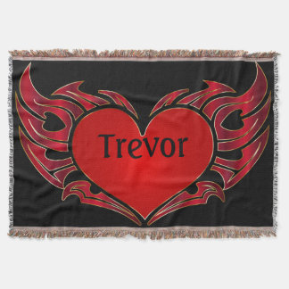 Tribal Tattoo Heart Throw Blanket