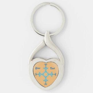 Tribal Tattoo Twisted Heart Metal Keychain NA