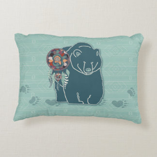 Tribal Teal Green Native American Inspired Bear Accent Pillow