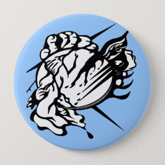 Tribal Thunder Cloud Tattoo 4 Inch Round Button