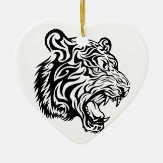 Tribal tiger ceramic ornament