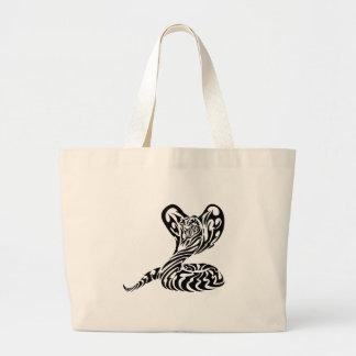 Tribal Tiger Head Cobra.png Large Tote Bag