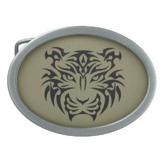Tribal Tiger Oval Belt Buckle