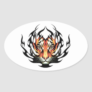 Tribal tiger oval sticker