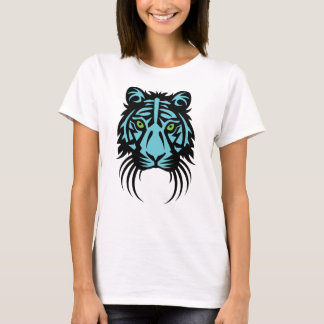 Tribal Tiger Tattoo Black Blue T-Shirt