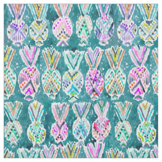 Tribal Tropical Watercolor Hawaiian Pineapples Fabric