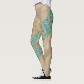 Tribal Turquoise and Tan Stripe Legging