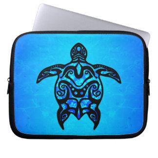 Tribal Turtle Hibiscus Computer Sleeve
