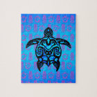 Tribal Turtle Hibiscus Jigsaw Puzzle