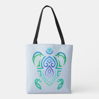 Tribal Turtle on Light Blue Tote Bag